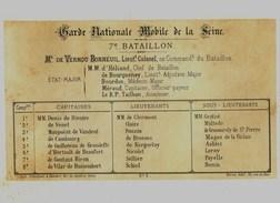 Litho  GUERRE De 1870 1871  GARDE NATIONALE 7éme BATAILLON - Col.Garde Nationale Mobile De La Seine 7éme Bat.- Militaria - Sonstige