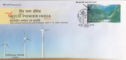India  2011  Energies  Wind Power  Windmills  CHENNAI  Special Cover  # 76731   Inde Indien - Windmills