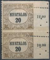 * 1920 Hivatalos 20f Pár Alul, Felül Fogazatlan, Jobb Oldalon Elfogazással - Stamps