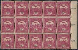 ** 1904 Turul 50f Sötétborvörös ívszéli 15-ös Tömb Fordított ... - Stamps
