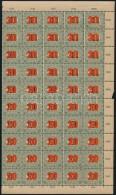 ** 1915 KisegítÅ' Portó MPIK 40 Fél ív 2 Számvízjellel + 2 Csillaggal... - Stamps