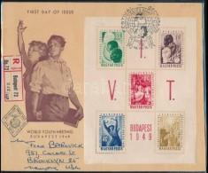 1949 VIT (I.) Blokk Ajánlott FDC-n Az USA-ba Küldve, Ritka (20.000++) - Stamps