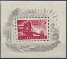 ** 1948 Lánchíd (I.) Blokk (25.000) (cellulózdarab A Papírban, Különben... - Stamps