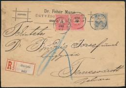 1900 5kr Pár + Turul 25f Vegyes Bérmentesítés Ajánlott Levélen 'ORAVICZA' - Stamps