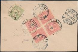 1900 5kr Négyestömb + Turul 5f Vegyes Bérmentesítés Levél Hátlapon - Stamps