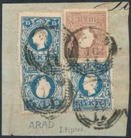 1858 10kr + 3 X 15kr (egyik Lemezhibás) = 4 Db I. Típusú Bélyeg 55kr... - Stamps