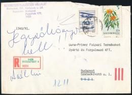 1991 Virág 12Ft Látványosan Képbe Fogazva Ajánlott Levélen. Ritka... - Stamps