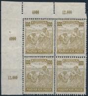 ** * 1924 Arató-Parlament 600K ívsarki Négyestömb, Benne Tévnyomat '600/800K' / Mi... - Stamps