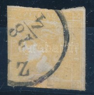 O 1851 Sárga Merkúr 'Z(ILAH)' Bevágott, Javított Bélyeg - Stamps