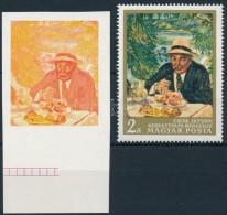 ** 1967 Festmények III. 2Ft Vágott  ÍVSZÉLI Bélyeg Arany, Kék   és... - Stamps