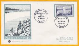 1952 - Enveloppe De Paris Vers Perpignan - 1er Jour - Commémoration Bataille Narvik Norvège WW2 - Guerre Mondiale (Seconde)