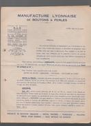 (Lyon) (69 Rhône) Catalogue MANUFACTURE LYONNAISE DE BOUTONS ET PERLES  (CAT 719) - Publicités