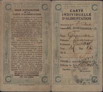 France Carte Individuelle D'alimentation 1918 Ministère Agriculture Et Ravitaillement Carte De Sucre 1920 Montceaux Ain - Oude Documenten