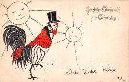 ROOSTER COCK WITH GOLD CANE~TOP HAT & TAILS MESSAGE IN GERMAN POSTCARD 1907 - Bandes Dessinées