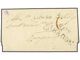 ESPAÑA. 1842. HIJAR A ZARAGOZA. Marca QTO./ARAGON (nº 3) De Quinto. RARA. - Stamps