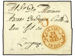 ESPAÑA: PREFILATELIA. 1845. CASTELLOTE (Teruel) A ZARAGOZA. Fechador CALANDA/ARAGON. PRECIOSO Y RARO.... - Stamps