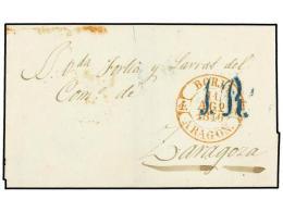 ESPAÑA: PREFILATELIA. 1846. BORJA A ZARAGOZA. Fechador BORJA/ARAGON.  MAGNÍFICA. - Stamps