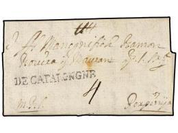 ESPAÑA: PREFILATELIA. 1716 (8 Diciembre). BARCELONA A PERPIÑAN (Francia). Marca DE CATALOGNE.... - Stamps