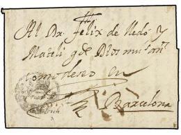 ESPAÑA: PREFILATELIA. 1733 (27 Junio). Carta Fechada Pero Sin Indicar Origen. En El Frente Marca De... - Stamps