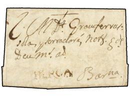ESPAÑA: PREFILATELIA. 1752. BAGA A BARCELONA. Marca BERGA (nº 1) En Tinta De Escribir. MUY RARA.... - Stamps