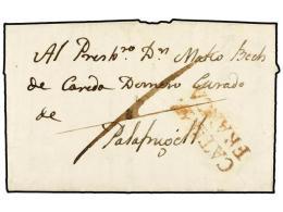 ESPAÑA: PREFILATELIA. 1827. BARCELONA A PALAFRUGELL. Marca CATÑA 17/FRANCA En Rojo. - Stamps