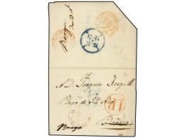 ESPAÑA: PREFILATELIA. 1843. SEU D´URGELL A BERGA. Fechador URGEL/CATALUÑA Y La... - Stamps