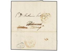 ESPAÑA: PREFILATELIA. 1851. TORTOSA A MIRAVET Y Reexpedida A TARRAGONA. Fechador De TORTOSA Y Marca... - Stamps