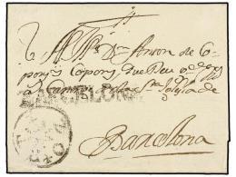 ESPAÑA: PREFILATELIA. (1740 CA.). Envuelta Circulada A BARCELONA. Marca Lineal BARCELONA (nº 17)... - Stamps