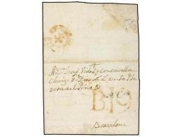 ESPAÑA: PREFILATELIA. 1774 (16 Julio). CARTAGENA A BARCELONA. Marca MRZIA (nº 10) De Cartagena Y... - Stamps