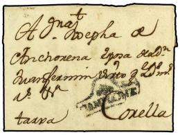 ESPAÑA: PREFILATELIA. 1738. PAMPLONA A CORELLA. Marca PAMPLONA (nº 4). MUY RARA. - Stamps