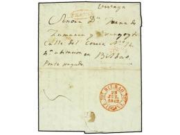 ESPAÑA: PREFILATELIA. 1842. PLASENCIA A BILBAO. Marca Manuscrita ´Porte Pagado´ Y Marca... - Stamps