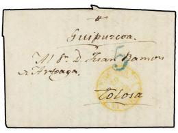 ESPAÑA: PREFILATELIA. 1845. VERGARA A TOLOSA. Fechador VERGARA/VITORIA En Amarillo. MAGNÍFICA.... - Stamps