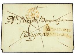 ESPAÑA: PREFILATELIA. 1842. AZPEITIA A BAYONA. Marca PAGO EL PORTE/EN VILLAREAL En Rojo (nº 12).... - Stamps