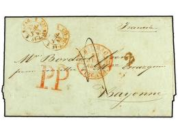 ESPAÑA: PREFILATELIA. 1843. BILBAO A BAYONA. Fechador De BILBAO Y Marca De Portes Pagados P P... - Stamps