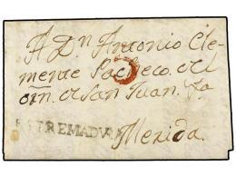 ESPAÑA: PREFILATELIA. 1813. HORNACHOS A MÉRIDA. Marca Lineal ESTREMADURA (nº 1) En Negro.... - Stamps