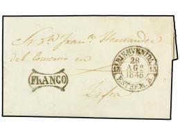 ESPAÑA: PREFILATELIA. 1845. BIENVENIDA A ZAFRA. Fechador BIENVENIDA Y FRANCO General En Negro.... - Stamps