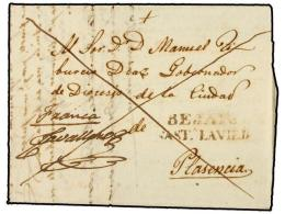 ESPAÑA: PREFILATELIA. (1842 Fecha De Referencia En El Interior). ENVUELTA Sin Fechar Circulada A PLASENCIA.... - Stamps