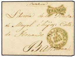 ESPAÑA: PREFILATELIA. 1844. SALAMANCA A BARCELONA. Fechador SALAMANCA Y FRANCO General En... - Stamps