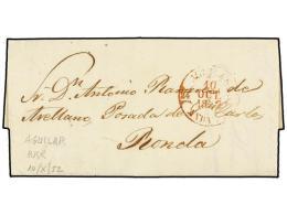 ESPAÑA: PREFILATELIA. 1852. AGUILAR (Córdoba) A RONDA. Fechador AGUILAR/ANDAL. A. En Rojo.... - Stamps