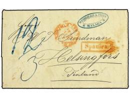 ESPAÑA. 1854. MALAGA A FINLANDIA. Circulada Sin Sellos, Marca SPANIEN Y Diversas Tasas Manuscritas.... - Stamps