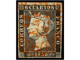 ° ESPAÑA. Ed.1. 6 Cuartos Negro, Pl. I. Mat. Fechador CASTROPOL/15 ENE 1850/ASTURIAS. MUY... - Stamps