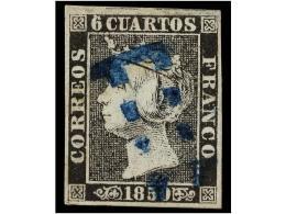 ° ESPAÑA. Ed.1. 6 Cuartos Negro, Pl. I Tipo 1. Mat. 11 LIMADO De SEVILLA En Azul.... - Stamps