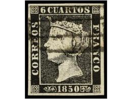 ° ESPAÑA. Ed.1. 6 Cuartos Negro, Mat. PARRILLA DE MADRID. Grandes Márgenes. - Stamps
