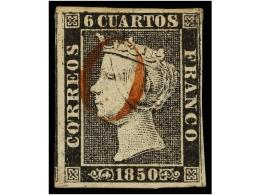 ° ESPAÑA. Ed.1. 6 Cuartos Negro, Pl. I Mat  O De LERIDA En Rojo. MAGNÍFICO. Cert.... - Stamps