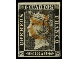 ° ESPAÑA. Ed.1. 6 Cuartos Negro, Pl. I. Mat. 8  De CUENCA En Rojo. MAGNÍFICO... - Stamps