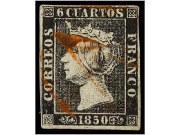 ° ESPAÑA. Ed.1. 6 Cuartos Negro, Pl. I Mat. AS De REUS En Rojo. - Stamps