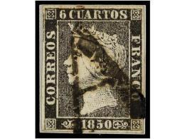 ° ESPAÑA. Ed.1. 6 Cuartos Negro, Pl. I Mat. A De MEDINA DE RÍO SECO En Negro.... - Stamps