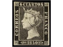 * ESPAÑA. Ed.1A. 6 Cuartos Negro, Pl. II. Ejemplar De Color Fresco Conservando Toda Su Goma Original,... - Stamps