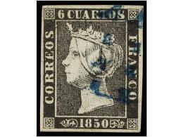 ° ESPAÑA. Ed.1A. 6 Cuartos Negro, Pl. II Tipo 1. Mat.11 LIMADO De SEVILLA En Azul.... - Stamps