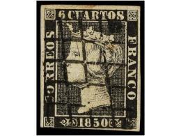 ° ESPAÑA. Ed.1A. 6 Cuartos Negro, Pl. II Mat. PARRILLA De REUS En Negro.... - Stamps